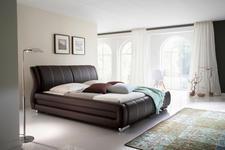 POLSTERBETT 180 cm   x 200 cm   in Textil Dunkelbraun - Chromfarben/Dunkelbraun, Basics, Textil/Metall (180/200cm) - Xora