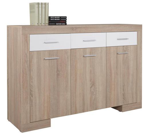 KOMODA SIDEBOARD, bílá, Sonoma dub - bílá/barvy stříbra, Design, kompozitní dřevo/umělá hmota (151/102/47cm) - Cantus
