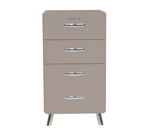 KOMMODE lackiert, Melamin Grau - Chromfarben/Grau, Design, Metall (56/92/43cm) - Carryhome