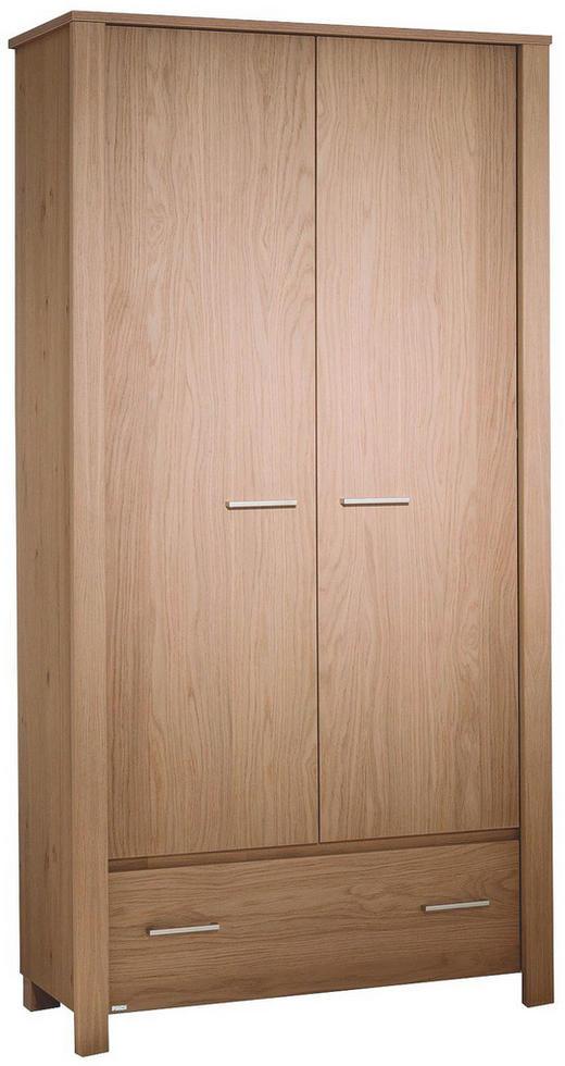 KLEIDERSCHRANK 2  -türig Eiche furniert Eichefarben - Eichefarben/Silberfarben, Design, Holz (97,7/200,5/58,3cm) - PAIDI