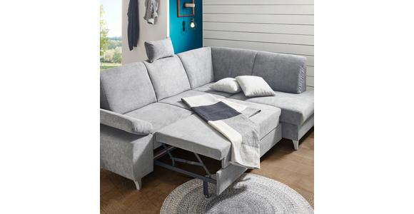 Wohnlandschaft inkl.Funktionen Silberfarben Struktur  - Silberfarben, KONVENTIONELL, Holz/Textil (167/322/186cm) - Cantus