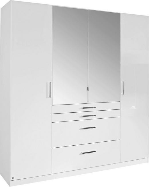KLEIDERSCHRANK 4-türig Weiß - Chromfarben/Weiß, Design, Glas/Holzwerkstoff (181/197/54cm) - Carryhome