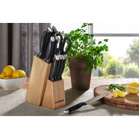 Messerblock 12-teilig  - Edelstahlfarben/Schwarz, Basics, Holz/Kunststoff - Homeware