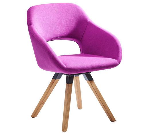 ARMLEHNSTUHL Textilgeflecht Wildeiche massiv Eichefarben, Violett  - Eichefarben/Violett, Design, Holz/Textil (62/83/59cm) - Valnatura