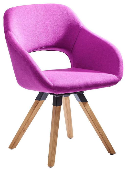 STUHL Textilgeflecht Wildeiche massiv Eichefarben, Violett - Eichefarben/Violett, Design, Holz/Textil (62/83/59cm) - Valnatura