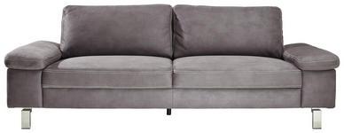 DREISITZER-SOFA Mikrofaser Grau  - Chromfarben/Beige, Design, Textil/Metall (234/86/97cm) - Hom`in