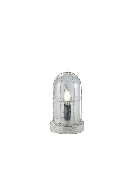 TISCHLEUCHTE - Grau, KONVENTIONELL, Glas/Metall (12,5/22cm)