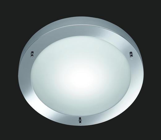 BADEZIMMER-DECKENLEUCHTE - Chromfarben/Weiß, LIFESTYLE, Glas/Metall (31,5/8,0cm)