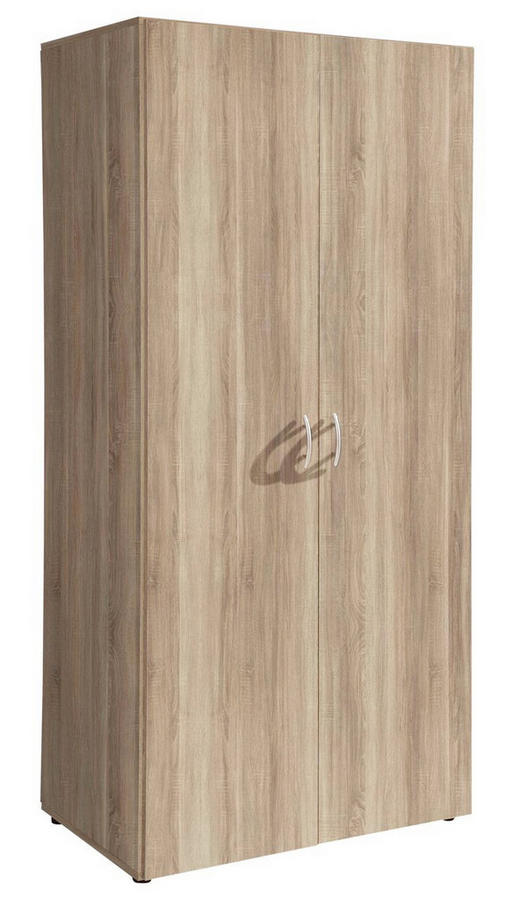 OMARA ZA OBLAČILA, barve hrasta - barve hrasta/barve aluminija, Basics, umetna masa/leseni material (80/177/52cm) - BOXXX