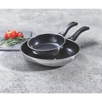 PFANNENSET Edelstahl  2-teilig - Edelstahlfarben, Basics, Keramik/Metall (18 + 28cm) - WMF