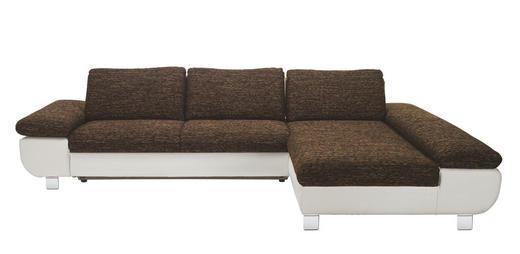 WOHNLANDSCHAFT Lederlook, Webstoff - Chromfarben/Dunkelgrau, Design, Textil/Metall (310/203cm) - Venda