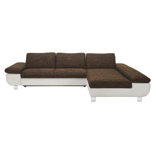 WOHNLANDSCHAFT Braun, Weiß Lederlook, Webstoff  - Chromfarben/Dunkelgrau, Design, Textil/Metall (310/203cm) - Venda