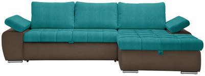 WOHNLANDSCHAFT in Textil Braun, Petrol - Petrol/Braun, Design, Kunststoff/Textil (271/175cm) - Xora