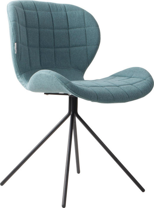 STUHL Blau - Blau/Schwarz, Design, Textil/Metall (51/56/80cm)