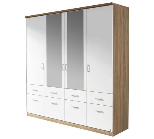 KLEIDERSCHRANK 4-türig Weiß, Eichefarben  - Eichefarben/Silberfarben, Design, Glas/Holzwerkstoff (181/199/56cm) - Carryhome