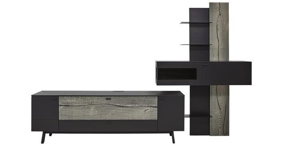 WOHNWAND in Anthrazit, Grau, Eichefarben  - Eichefarben/Anthrazit, Design, Glas/Holz (333,1/223,2/49,2cm) - Dieter Knoll