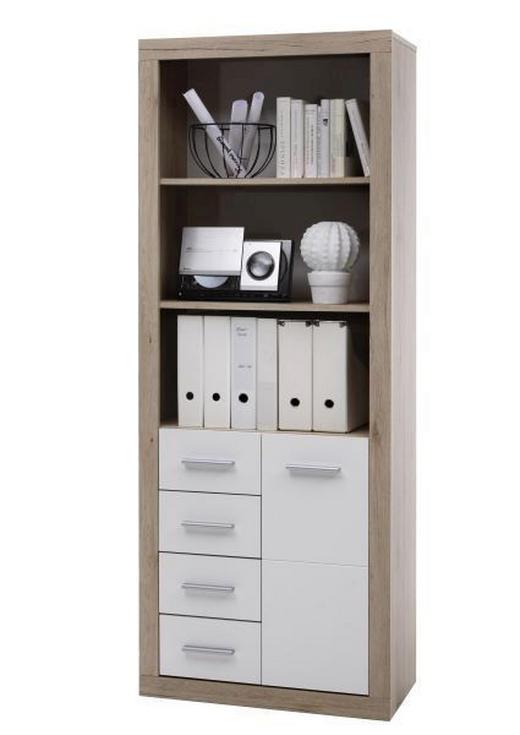 SCHRANK Eichefarben, Weiß - Eichefarben/Silberfarben, KONVENTIONELL, Holzwerkstoff/Kunststoff (74/188/37cm) - Boxxx