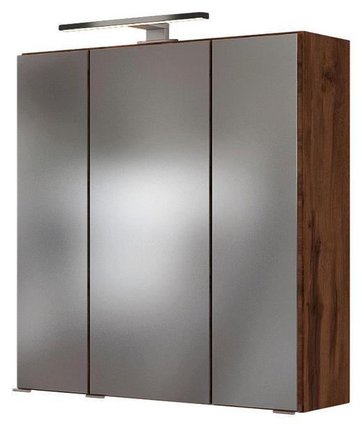 SPIEGELSCHRANK Eichefarben - Chromfarben/Eichefarben, Natur, Glas/Holzwerkstoff (60/66/20cm) - Carryhome