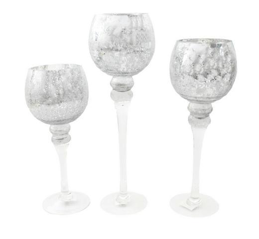 WINDLICHTSET 3 - Silberfarben, Glas (13/40cm)