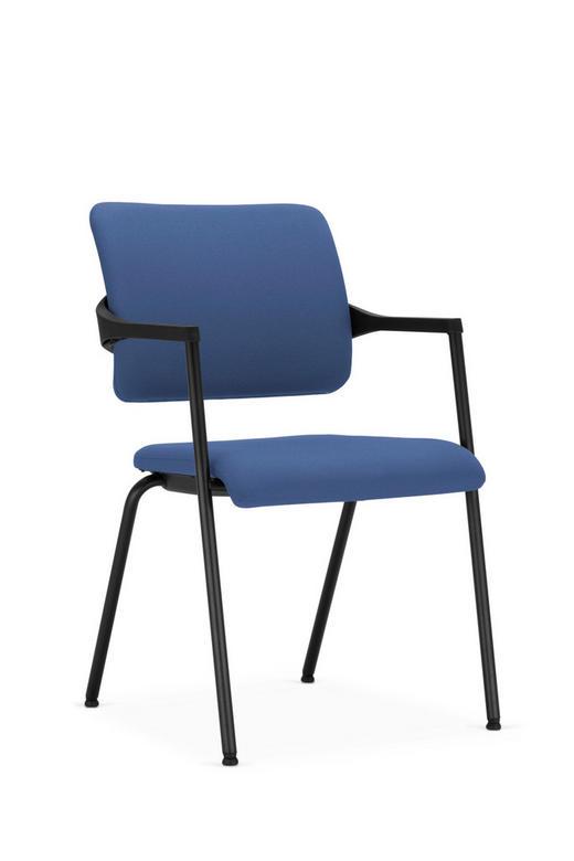 BESUCHERSTUHL in Blau, Schwarz Textil - Blau/Schwarz, KONVENTIONELL, Textil/Metall (53,5/86,5/61cm)