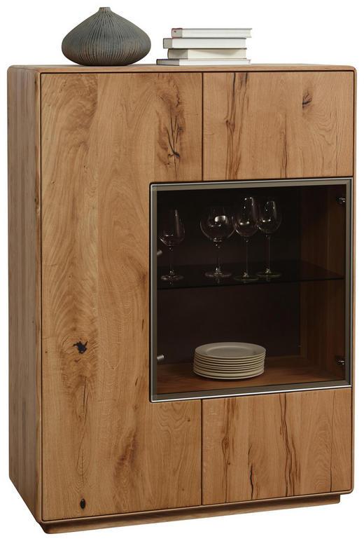 HIGHBOARD Wildeiche massiv gebürstet Eichefarben - Eichefarben, Design, Glas/Holz (99/134,5/44cm) - Valnatura