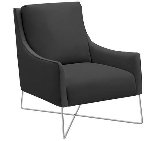 Sessel In Leder Grau Chromfarben Design Metall 69