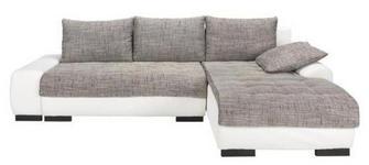 WOHNLANDSCHAFT in Textil Grau, Weiß  - Wengefarben/Weiß, Design, Holz/Textil (278/198cm) - Carryhome