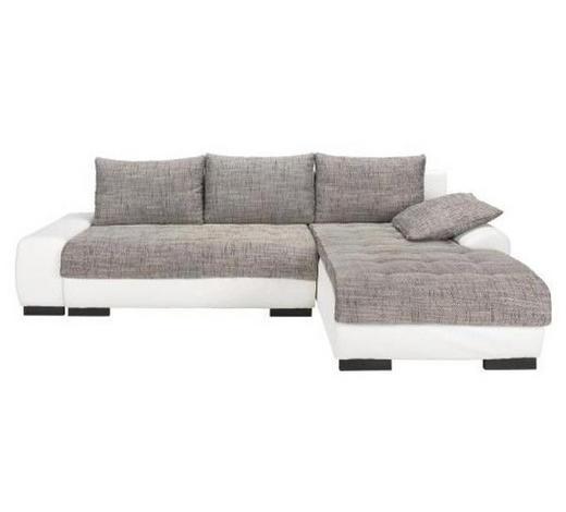 WOHNLANDSCHAFT Grau, Weiß Webstoff  - Wengefarben/Weiß, Design, Holz/Textil (278/198cm) - Carryhome