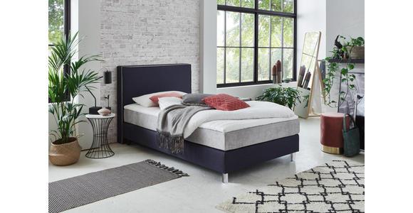 BOXSPRINGBETT 120/200 cm  in Blau, Silberfarben  - Chromfarben/Blau, Design, Kunststoff/Textil (120/200cm) - Hom`in