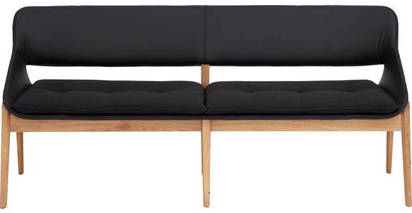 SITZBANK 180/81/55 cm  in Eichefarben, Schwarz - Eichefarben/Schwarz, Design, Leder/Holz (180/81/55cm) - Valnatura