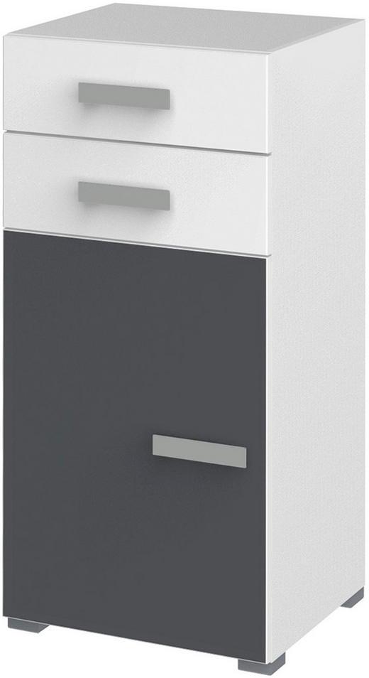 KOMMODE Graphitfarben, Weiß - Silberfarben/Graphitfarben, Design, Glas/Holzwerkstoff (50/110,8/44,3cm) - Xora