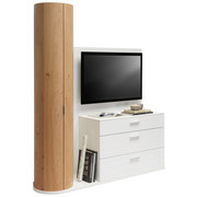 TV DÍL - bílá/barvy dubu, Design, kov/dřevo (171,9/202,4/47,5cm) - Ambiente by Hülsta
