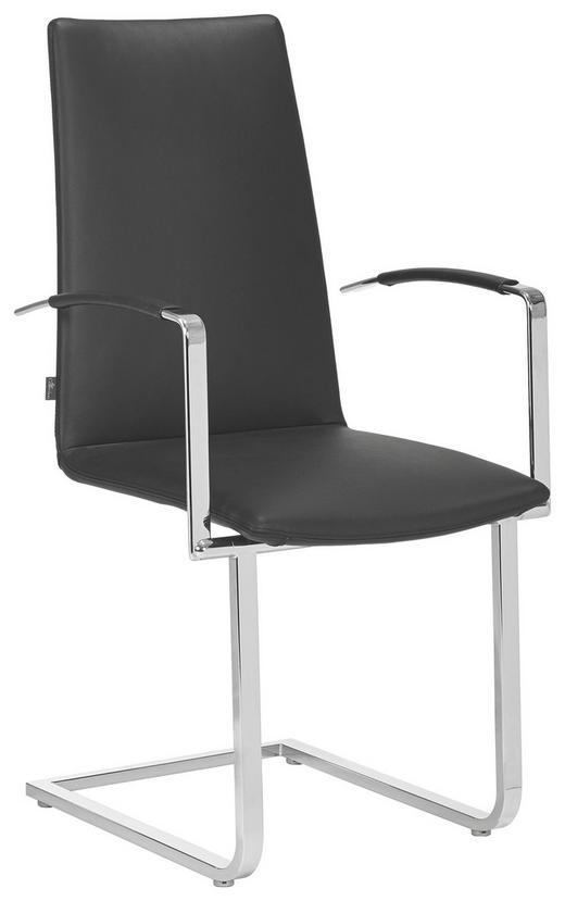 ARMLEHNSTUHL Echtleder Schwarz - Schwarz, Design, Leder/Metall (55/101/59cm)