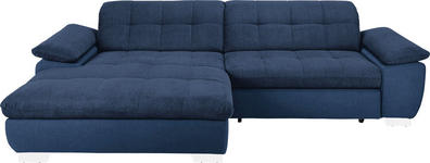 WOHNLANDSCHAFT in Textil Blau  - Chromfarben/Blau, Design, Textil/Metall (180/265cm) - Carryhome