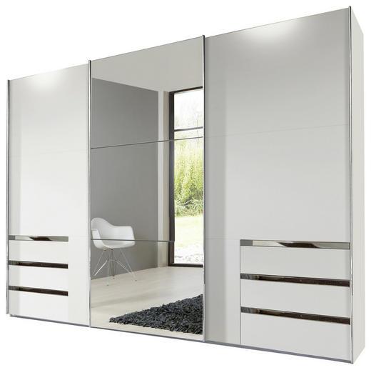 SCHWEBETÜRENSCHRANK 3-türig Weiß - Alufarben/Weiß, Design, Glas/Holzwerkstoff (300/236/65cm) - Carryhome