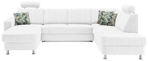WOHNLANDSCHAFT in Textil Weiß - Chromfarben/Multicolor, Design, Kunststoff/Textil (165/301/198cm) - Xora
