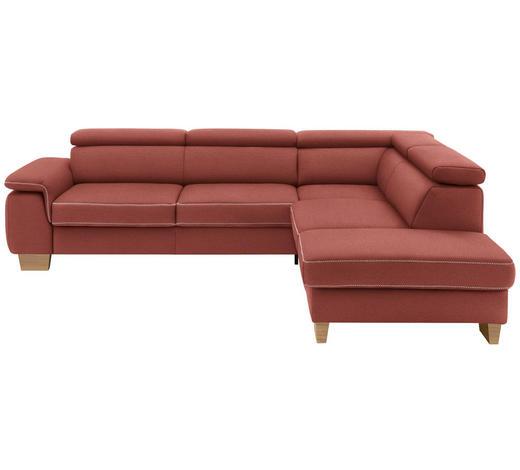 WOHNLANDSCHAFT in Textil Rot  - Eichefarben/Beige, LIFESTYLE, Holz/Textil (226/273cm) - Beldomo System