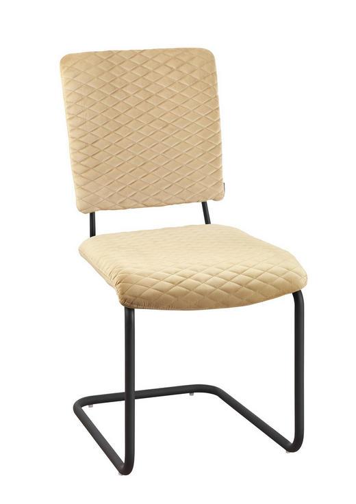 SCHWINGSTUHL Samt Beige, Schwarz - Beige/Schwarz, Design, Textil/Metall (58/88/44,50cm) - Carryhome
