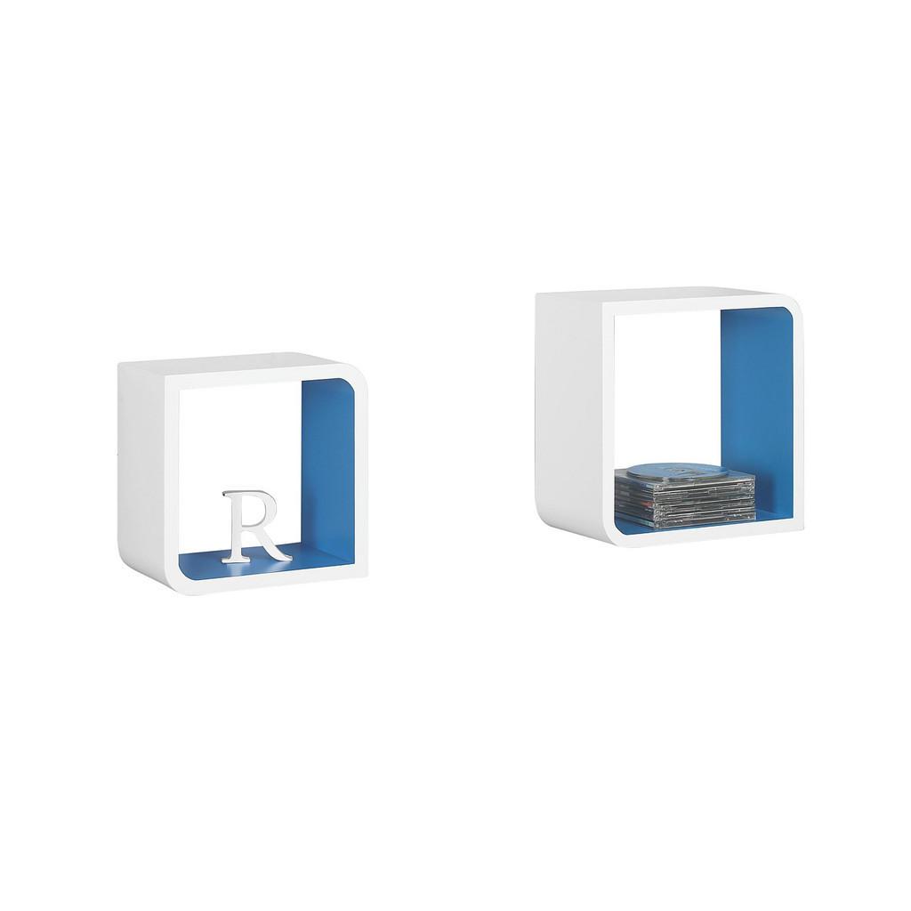 Boxxx SADA NÁSTĚNNÝCH REGÁLŮ, modrá, bílá, - modrá, bílá