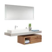 Badezimmer - Eichefarben/Weiß, Design, Glas/Holz (160cm) - Voglauer