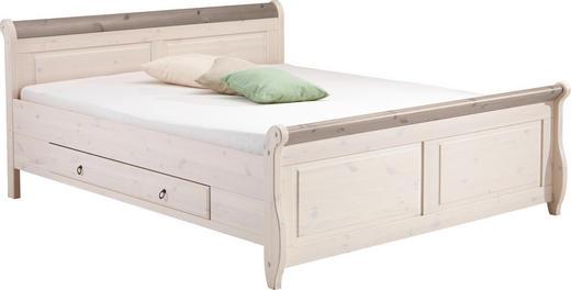 BETT Kiefer massiv 180/200 cm - Weiß/Grau, LIFESTYLE, Holz (180/200cm) - Carryhome