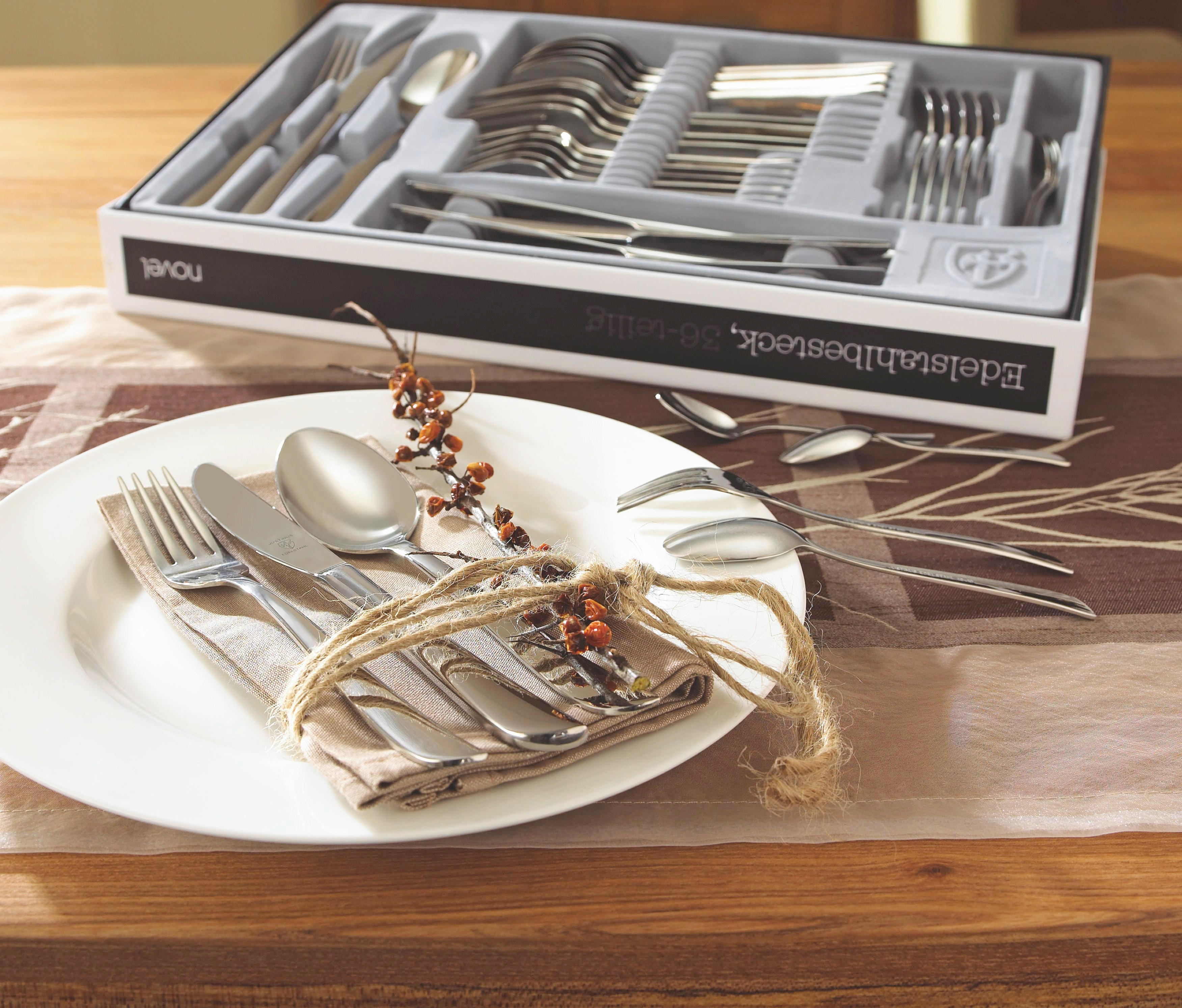 BESTECKSET 36-teilig - Silberfarben, Basics, Metall - NOVEL
