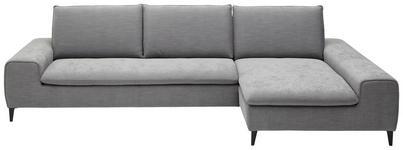 WOHNLANDSCHAFT Flachgewebe - Hellgrau/Schwarz, Design, Textil/Metall (302/166cm) - DIETER KNOLL
