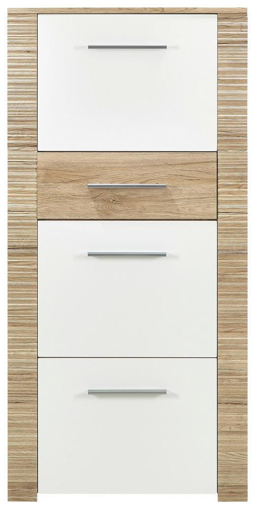 SCHUHSCHRANK Eichefarben, Weiß - Chromfarben/Eichefarben, KONVENTIONELL (65/134/36cm) - Xora