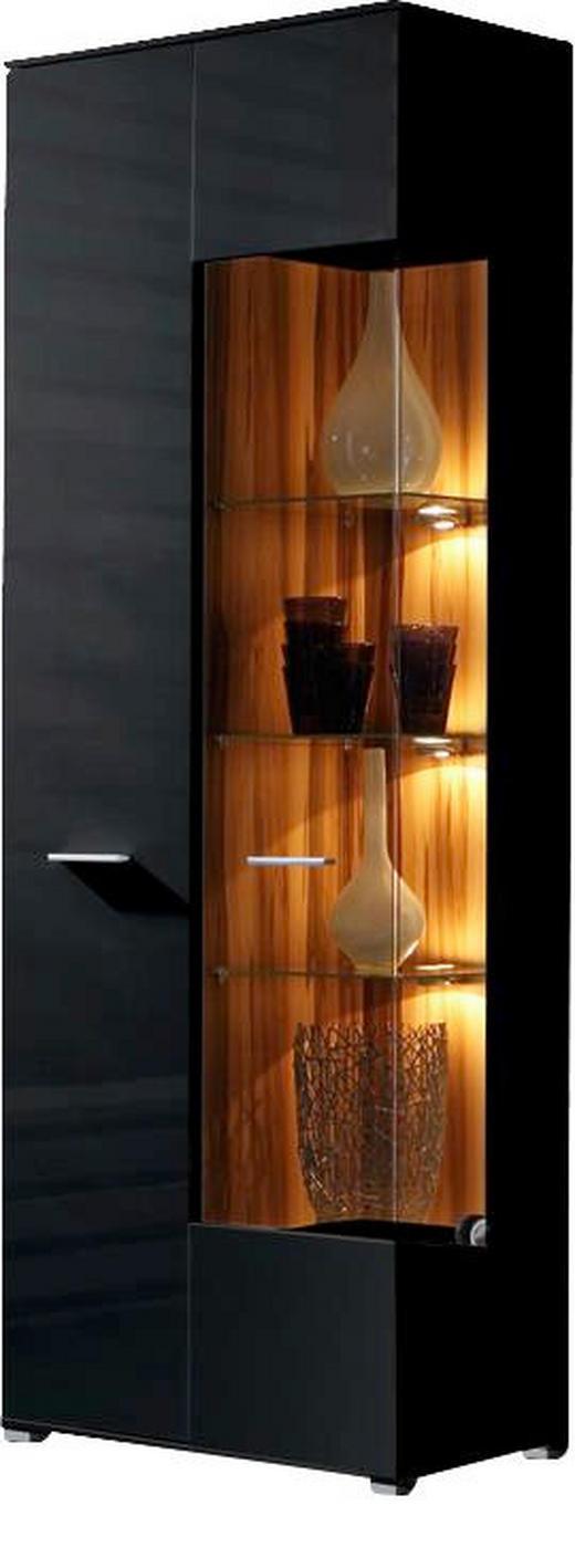 VITRINE Schwarz - Silberfarben/Schwarz, Design, Glas/Holz (75/197/37cm) - Carryhome
