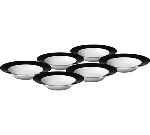 SUPPENTELLERSET Porzellan  6-teilig  - Schwarz/Weiß, Basics, Keramik (21,5cm)