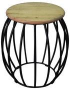 KLUBSKA MIZA, črna, akacija  - črna/akacija, Design, kovina/leseni material (38/38/50cm) - Carryhome