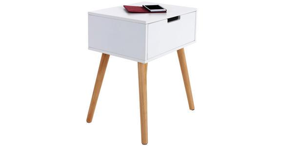Nachtkästchen Levi B: 40 cm Weiß - Weiß/Naturfarben, MODERN, Holz/Holzwerkstoff (40/52/30cm) - Ombra