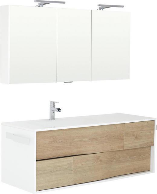 BADEZIMMER - Eichefarben/Weiß, Design, Glas/Holzwerkstoff (138,8cm)