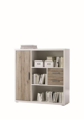 KOMODA VISOKA - bijela/boje hrasta, Design, drvni materijal (116/118/33cm) - Boxxx